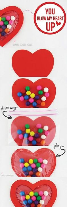 Valentines - maybe the kids could even help make these by cutting hearts and adding gum balls to bags.