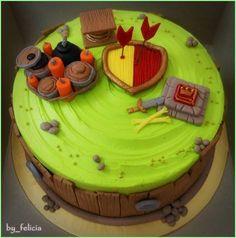 simple clash of clans cake Boy Birthday Parties, Birthday Celebration, Torta Clash Royale, Fondant Cakes, Cupcake Cakes, Harry Potter Birthday Cake, Fab Cakes, Cakes For Boys, Clash Of Clans