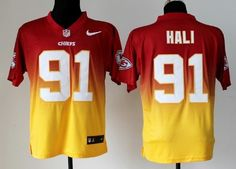 Nike Kansas City Chiefs #91 Tamba Hali Red/Yellow Fadeaway Elite Jersey