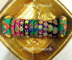 <3 Wrap around your wrists the best of designer bangles by Magic Threads :) colours and sizes can be customized as per your requirement :) For more details please WhatsApp +91 9742914002 HAPPY SHOPPING :) #duvvuruswethareddy #designerbangles #bridalbangles #partywearbangles #fashionaccessories #embroiderybangles #maggamworkbangles #impressivecollectionz #magicthreads #rawsilkbangles #colors #banglelove #loveforbangles #zardosibangles #bangles #bangalore #hyderabad #chennai #delhi #nellore