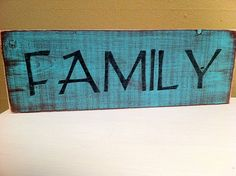 """Hand Painted Rustic Weatherd Shabby Chic Wooden Sign """"FAMILY"""""""