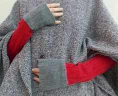 Hand stitched & repurposed red and gray cashmere armwarmers.