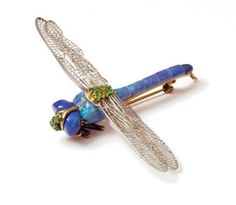 dragonfly brooch with platinum filigree wings, black opals and tsavorites