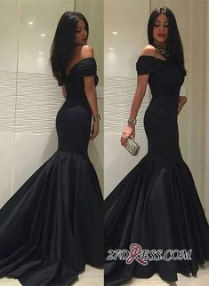 2aa942f6d5f Sweep-Train Sexy Off-the-Shoulder Black Mermaid 2019 Prom Dress BA5114 Item