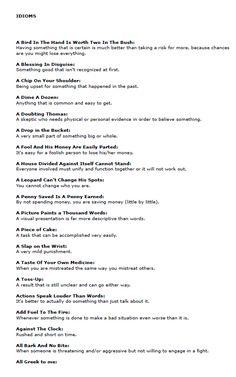 Idioms list pdf