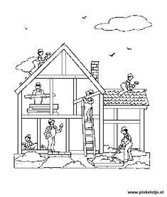 kleurplaat huis binnenkant het huis on met