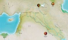 Map of Bible lands related to the lives of faithful Abel, Noah, Abram (Abraham)