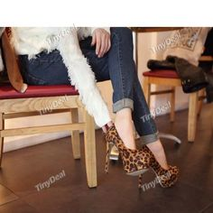 Casual Velvet Leopard Print Sexy Shoes Pumps for Women DSH-287647 TinyDeal  #mythanksgivingwishlist