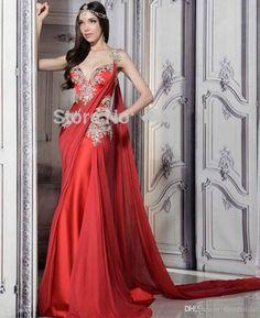 red wedding saree gown