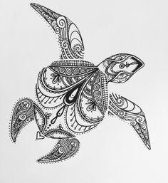 Sea turtle tattoo design in black and white, unique style with pretty, feminine designs