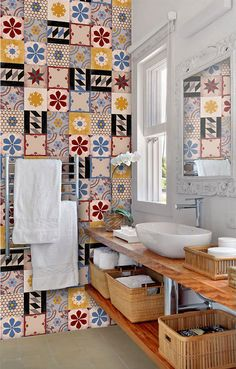 Tile Decals - Tiles for Kitchen/Bathroom Back splash - Floor decals - Hand Painted Moroccan Mix Tile Sticker 48 Sticker Pack Floor Decal, Floor Stickers, How To Install Wallpaper, Peel And Stick Tile, Tile Decals, Adhesive Tiles, Smooth Walls, Vinyl Wallpaper, Kitchen Tiles