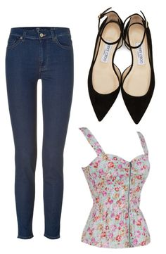 """Untitled #3651"" by ania18018970 ❤ liked on Polyvore featuring 7 For All Mankind and Jimmy Choo"