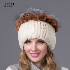 Women's Winter Fur Hat Real Rex Rabbit Fur Hats with Fur Flower on the Top Female Knit Beanies Caps 2015 Fashion