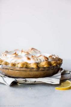 Learn how to make classic lemon meringue pie with a creamy and sweet lemon filling, delicious meringue, and homemade flaky pie crust! Recipe on sallysbakingaddiction.com