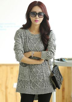 Grey Plain Pockets Long Sleeve Sweater