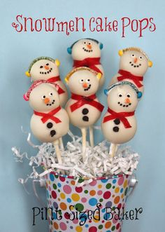Snowmen Cake Pops by @Pint Sized Baker