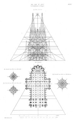 Gothic Architecture - Elevation and plan of the Cathedral, Cologne, Germany Cathedral Architecture, Architecture Mapping, Plans Architecture, Romanesque Architecture, Cultural Architecture, Sacred Architecture, Education Architecture, Religious Architecture, Classic Architecture