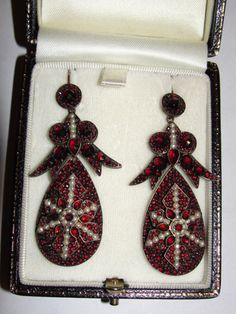 Victorian Rose Cut and Mine Cut Bohemian Garnet Earrings.