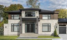 Modern home with wood accent stone siding Rinox Lotis brick in almond white and charcoal colors