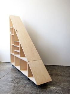 WAKA WAKA is a project focusing on furniture and utilitarian objects designed and handmade by Shin Okuda. Stair Shelves, Staircase Storage, Loft Stairs, Shelves In Bedroom, Stair Storage, Under Stairs, Eaves Storage, Cubby Storage, Living Room Storage