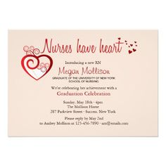 "Nurses Have Heart Graduation Invitation 5"" X 7"" Invitation Card"