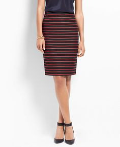 Tall Rope Stripe Pencil Skirt