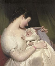 James Sant [British Painter, 1820-1916] | The artist's wife Elizabeth with their daughter Mary Edith