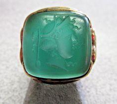 Antique Men's Green Chalcedony Intaglio Ring 10k Gold size 8  Circa 1940s  | eBay