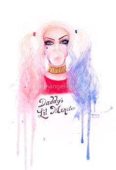Harley Quinn - Suicide Squad Watercolour Portrait by emangelique