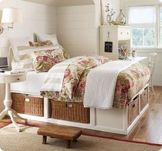 Shop cottage platform bed with storage from Pottery Barn. Our furniture, home decor and accessories collections feature cottage platform bed with storage in quality materials and classic styles. Home Bedroom, Girls Bedroom, Bedroom Furniture, Bedroom Decor, Bedroom Ideas, Furniture Ideas, Modern Bedroom, Master Bedroom, Modern Futon