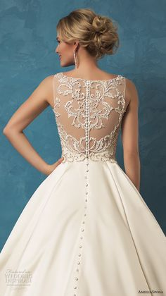 amelia sposa 2017 bridal sleeveless v neck heavily embellished bodice classic silk a  line wedding dress with pockets sheer lace back cathedral train (noemi) zbv