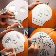 Sugar Skull template for pumpkin Sugar Skull Pumpkin Stencil, Sugar Skull Painting, Pumpkin Art, Cute Pumpkin, Pumpkin Carving, Pumpkin Painting Stencils, Pumpkin Faces, Pumpkin Ideas, Holidays Halloween