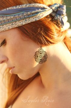 Gypsy Earrings, Black Boho Earrings via Etsy  *round crystal earrings, secret garden earrings