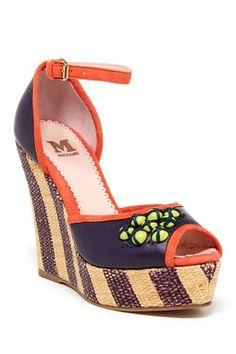 M Missoni Peep Toe Wedge Sandal