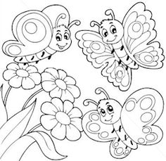 Butterfly And Flower Coloring Pages With Flowers Outlined Free - Coloring Page Ideas Fruit Coloring Pages, Spring Coloring Pages, Flower Coloring Pages, Colouring Pages, Free Coloring, Coloring Pages For Kids, Coloring Sheets, Coloring Books, Hello Kitty Coloring