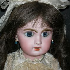 """BEBE JUMEAU - w/ Box & Invoice & French Papers!! - Big Blue Paperweight Eyes - A Real Find!! - 18"""""""