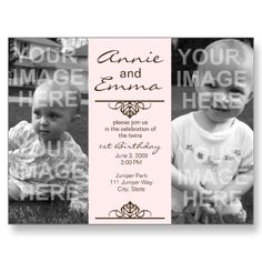 Simple and elegant 1st Birthday Party Invitations for Twin Girls.