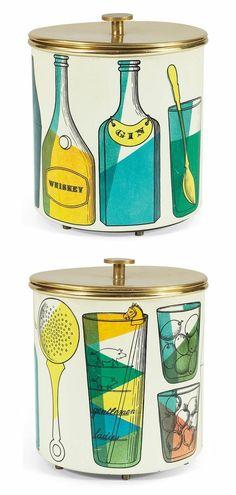 Mid-Century Modern •~• vintage MCM ice bucket, Piero Fornasetti, Italy