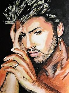 Tribute painting. George Michael painted in Acrylics on canvas by Ars Gratia Artis by Jakki