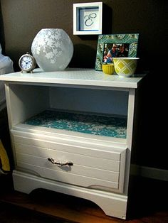 Instead of a two drawer chest...might work on double level end tables, too.