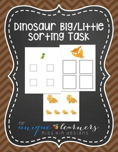 Ready to start sorting with your students? Here's an easy way to get them started! Designed for 3-5 year old children, this simple sorting task asks students to sort by big/little using dinosaurs. The file folder game even has boxes in the appropriate sizes to help guide learning.
