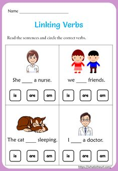 Linking Verbs Worksheets - Your Home Teacher Learning English For Kids, English Lessons For Kids, Kids English, Learn English, Kids Learning, English Class, English Grammar, English Worksheets For Kindergarten, 5th Grade Worksheets