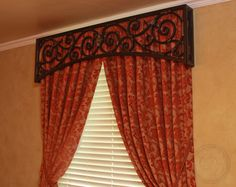 Iron art valance, love this! Unique Window Treatments, Drapery Designs, Cornices, Family Room Decorating, Living Room Windows, Iron Art, Drapery Hardware, Arched Windows, Window Coverings