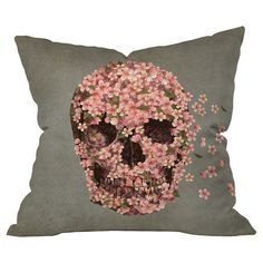 Throw+pillow+with+a+floral+skull+motif+by+artist+Terry+Fan+for+DENY+Designs.+Made+in+the+USA.+  Product:+PillowConstr...