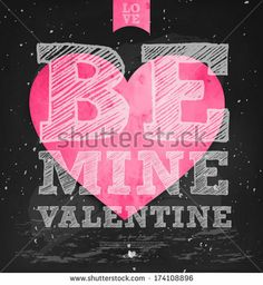 Happy Valentine's Day - Typographical Background Set On Chalkboard with ornaments, hearts, ribbon, angel and arrow
