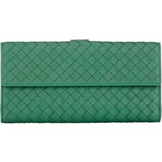 Bottega Veneta Intrecciato Continental Wallet ($750) ❤ liked on Polyvore featuring bags, wallets, green, front pocket wallet, leather bags, leather wallet, real leather wallet and leather credit card holder wallet