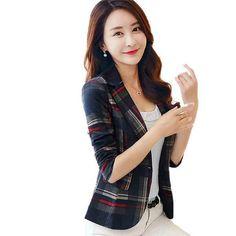 Plaid Blazer Women blazer Coat Casual One Button Outerwear Short Blazer