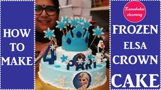 frozen theme easy birthday cake design ideas with fondant crown and fondant Olaf topper Simple Birthday Cake Designs, Easy Kids Birthday Cakes, Olaf Birthday Cake, Cake Designs For Girl, Elsa Birthday, Homemade Birthday Cakes, Happy Birthday Cakes, Birthday Cake Girls, Princess Birthday