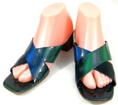 Sesto Meucci Shoes Womens Size 9 M Iridescent Blue Green Slip On Strappy Sandals #SestoMeucci #Strappy