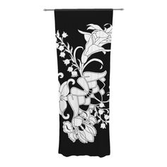 """Vikki Salmela """"My Garden"""" Decorative Sheer Curtain from KESS InHouse #new #deco #Gatsby #modern #black #white #floral #flowers #garden #original #art on #sheer #curtains for #window #home #decor. Great in a #contemporary #living room #bedroom #dining or more. Coordinate with #pillows #rug #placements by #vikkisalmela."""